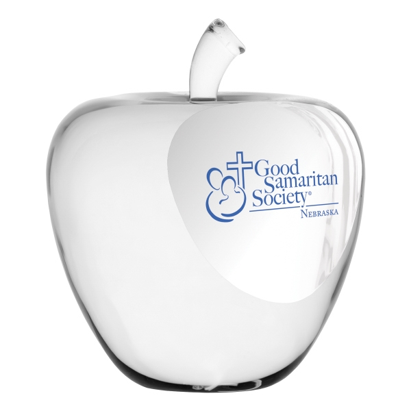 Printed Crystal Apple Paperweight