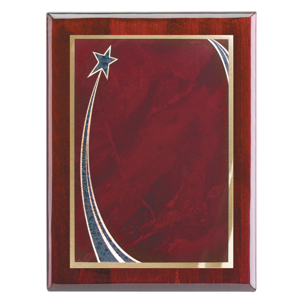 "Custom Piano Wood (R) Wall Plaque with Rising Star Plate 9"" x 12"""