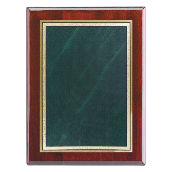 """Custom Piano Wood (R) Wall Plaque w/Frosted Marble Plate, 9"""" x 12"""""""