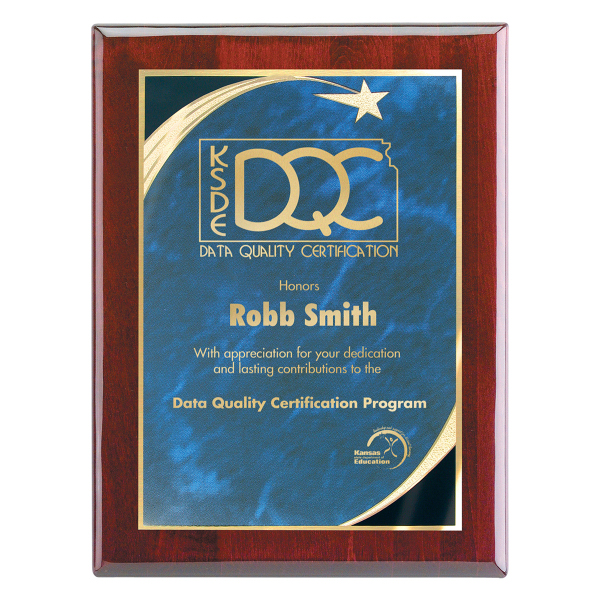 "Printed Wall Plaque with Star Achievement Plate, 7"" x 9"""