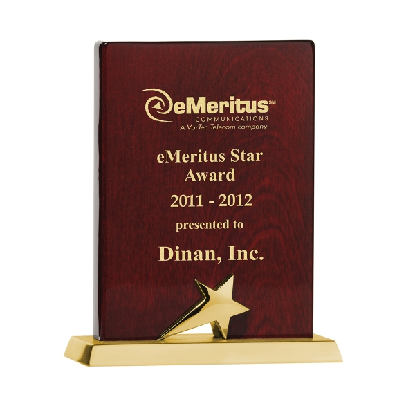 "Printed 6"" Piano Wood (R) Gold Finish Plaque"