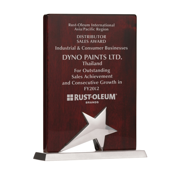 "Promotional 8"" Piano Wood (R) Silver Finish Plaque"
