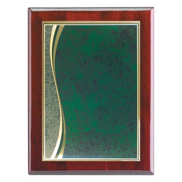 "Imprinted Piano Wood (R) Wall Plaque with Wave Marble Plate, 9"" x 12"""