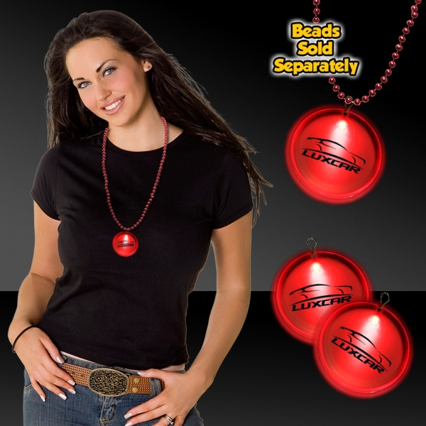 """Customized Red 2"""" Lighted Badges with attached J-Hook medallion"""