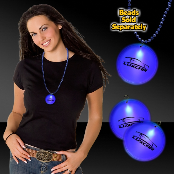 "Promotional Blue 2"" Lighted Badges with attached J-Hook medallion"