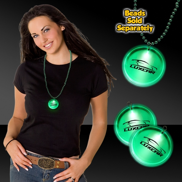 "Customized Green 2"" Lighted LED Badges with attached J-Hook medallion"