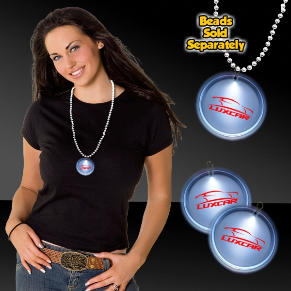"""Promotional White 2""""  LED Lighted Badges with attached J-Hook medallion"""