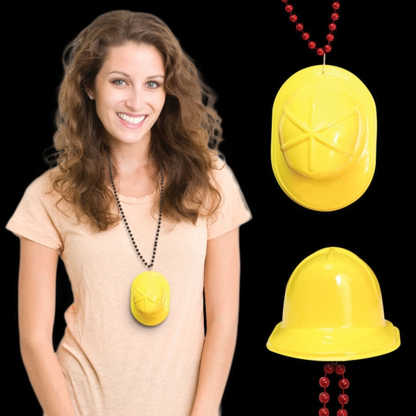 Personalized Mini Yellow Construction Hat with J-Hook medallions