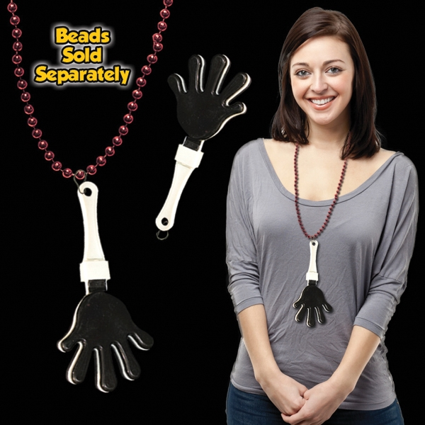 Promotional Black & White Hand Clapper with attached j-hook medallion