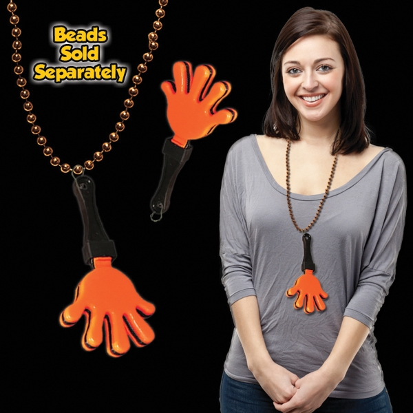 Personalized Orange & Black Hand Clapper with j-hook medallion