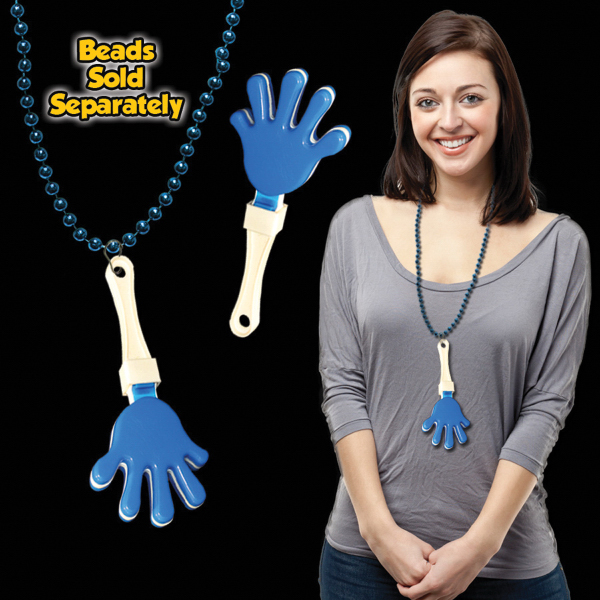 Personalized Blue & White Hand Clapper with attached j-hook