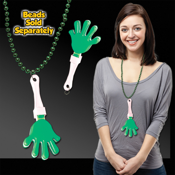 Personalized Green & White Hand Clapper with attached j-hook