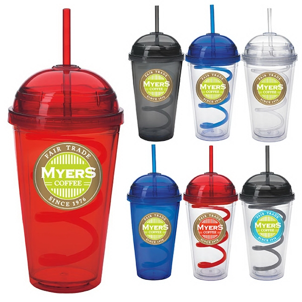 Customized Dome Tumbler with Curly Straw - 18 oz