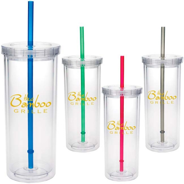 Promotional Tall Tumbler with Straw - 16 oz