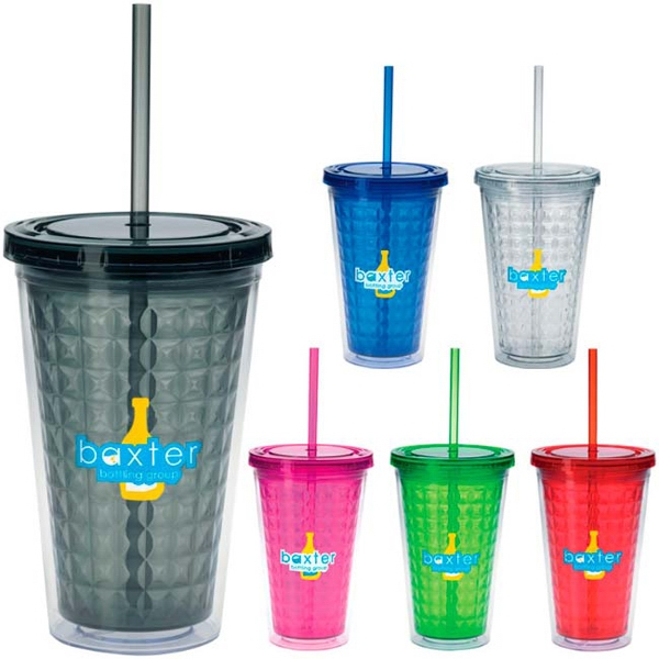 Customized Double Wall Diamond Pattern Tumbler - 18 oz