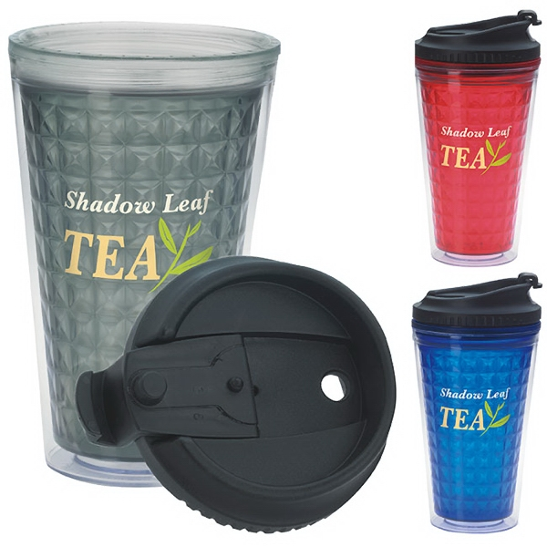 Custom Double Wall Acrylic Tumbler with Black Lid -18 oz