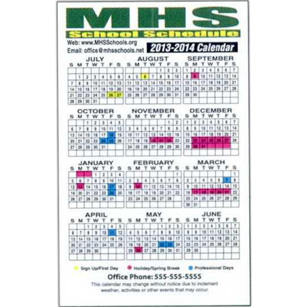 Personalized Full-Color School Schedule Magnet