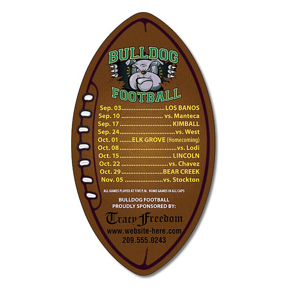"Imprinted School Magnet - Football Shape (3"" x 5.5"") - 25 mil"