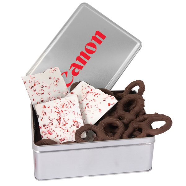 Printed Rectangle tin filled with chocolate pretzels & confections