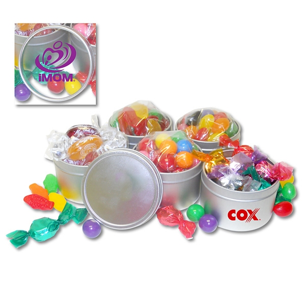 Customized 4 oz. Candy Tin Of Gumballs