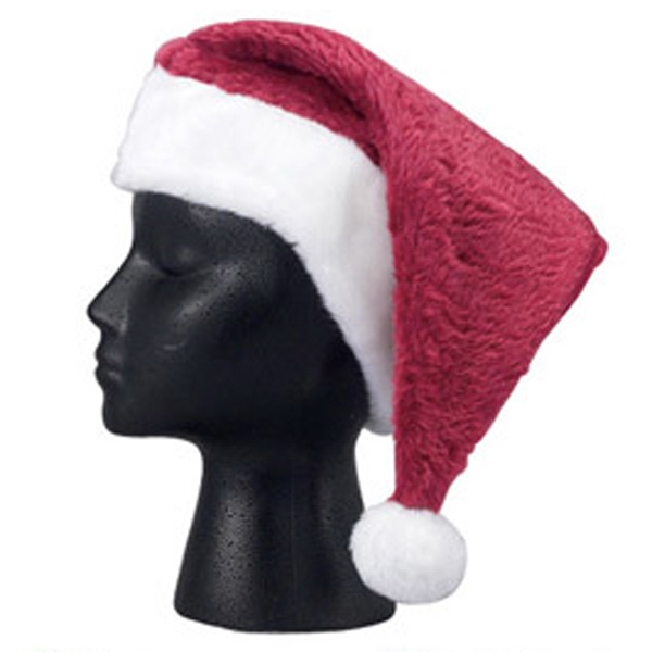 Printed Adult size plush Santa hat