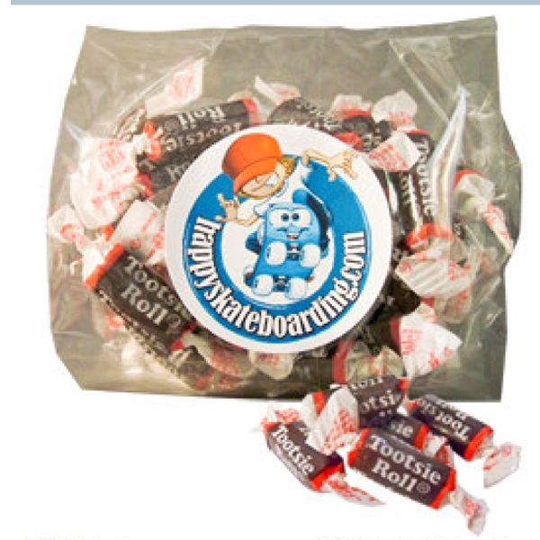 Personalized Tootsie Rolls candy in gift bag