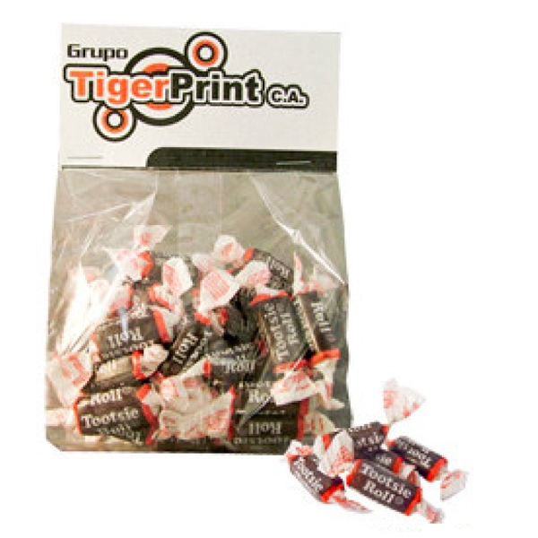 Customized Tootsie Rolls candy in gift bag with header card