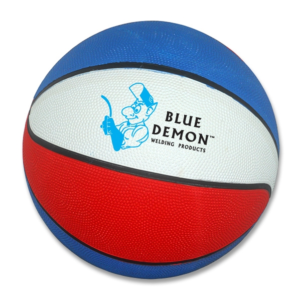 Customized Red, white, blue regulation size basketball