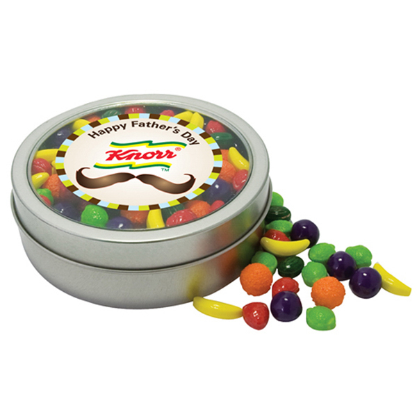 Custom Deluxe Trail Mix in Imprinted Circular Rim Tin