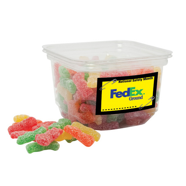 Personalized Assorted Mini Swedish Fish candy in small square tub