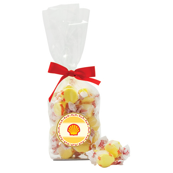 Custom Salt Water Taffy Candy in Labelled French bottom bag
