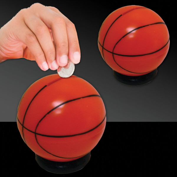 "Personalized 3 1/2"" Basketball Sports Bank"