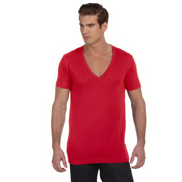 Printed Unisex Jersey Short Sleeve Deep V-neck T-Shirt