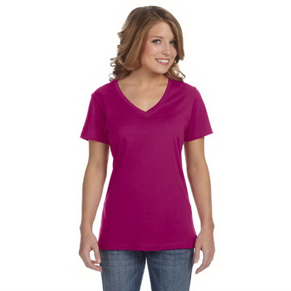 Imprinted Anvil Ladies' Sheer Combed Ringspun V-Neck