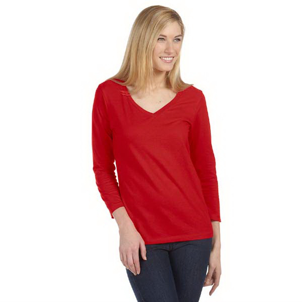 Promotional Bella & Canvas Ladies' Missy 3/4 Sleeve V-neck T-shirt