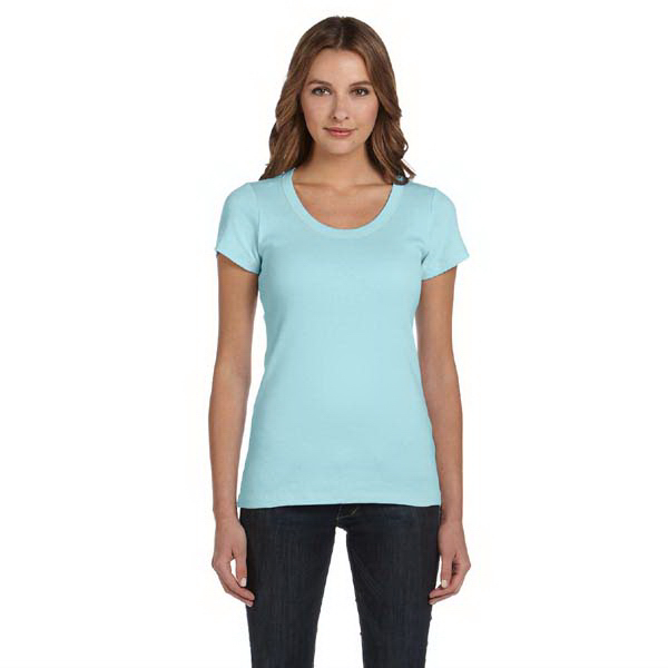 Personalized Ladies' 1x1 Baby Rib Short Sleeve Scoop Neck T-Shirt