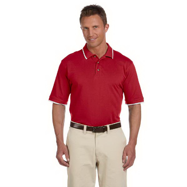 Imprinted Harriton 6 oz. Short Sleeve Pique Polo with Tipping