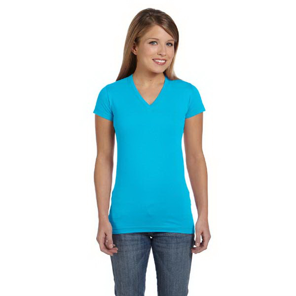Custom LAT Juniors' Fine Jersey V-Neck Longer Length T-Shirt