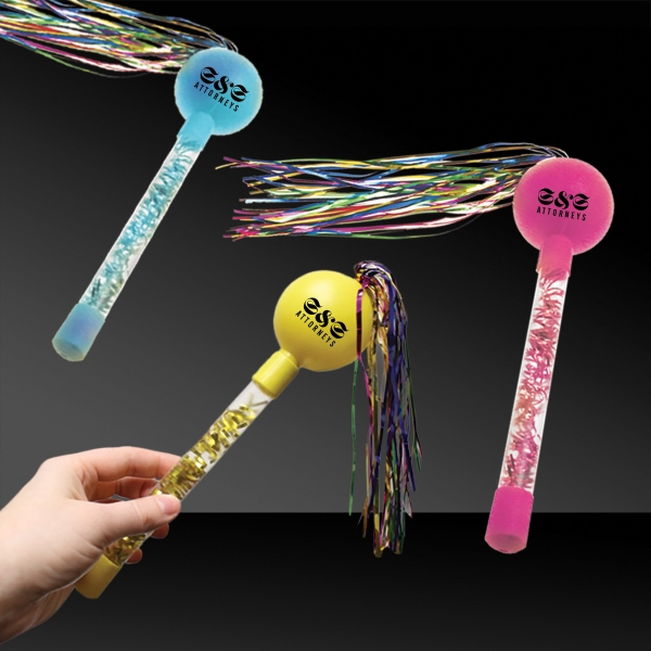 "Printed 9"" Tinsel Maracas in Assorted Colors"