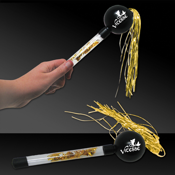 "Customized 9"" Gold & Black Tinsel Maraca"