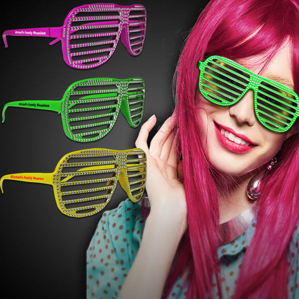 Printed Neon Sparkle Slotted Eyeglasses in Assorted Colors