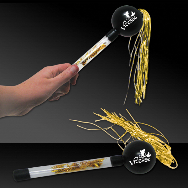 "Promotional 9"" Gold & Black Tinsel Maraca"