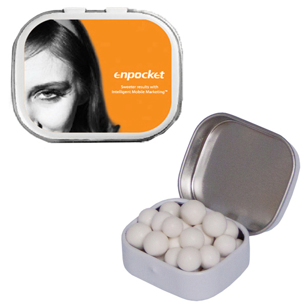 Printed White Mini Mint Tin with Signature Peppermints