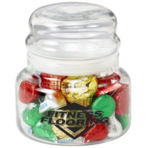 Personalized Round Glass Jar / Hershey's (R) Holiday Mix