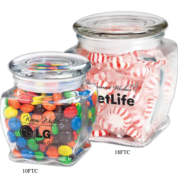 Customized Footed Glass Jar / Foil Wrapped Hard Candies