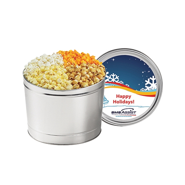 Promotional 4 Way Popcorn Tin / 1.5 Gallon