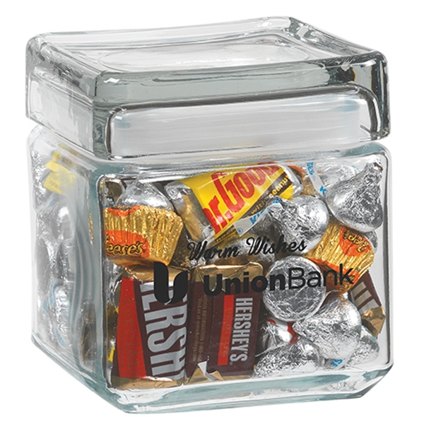 Imprinted Square Glass Jar / Hershey's (R) Everyday Mix