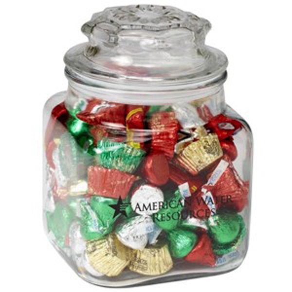 Printed Square Glass Jar / Hershey's (R) Holiday Mix