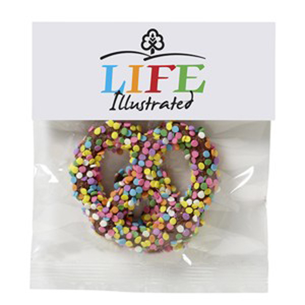 Imprinted Chocolate Covered Pretzel Knot in Header Bag