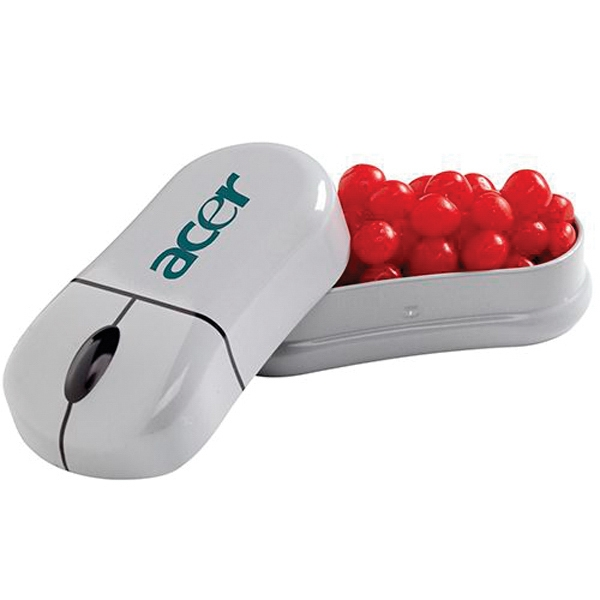 Printed Computer Mouse Tin with Red Hots